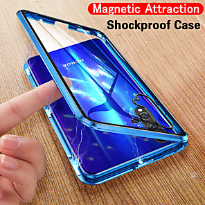 cheap Huawei Case-Single-sided Magnetic Phone Case For Huawei P40 / P40 Pro Slim Clear Case Magnetic Adsorption Metal Bumper Glass Shock-Absorption / Anti-Scratch / HD Clear Front and Back Case