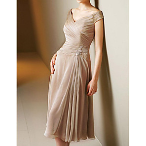 cheap Ballroom Dancewear-A-Line Mother of the Bride Dress Elegant V Neck Tea Length Chiffon Satin Short Sleeve with Pleats 2020