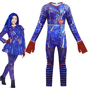 cheap Movie & TV Theme Costumes-Descendants Cosplay Cosplay Costume Outfits Girls' Movie Cosplay Cosplay Halloween Blue Leotard / Onesie Gloves Carnival Masquerade Polyester
