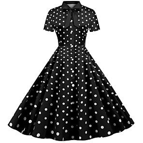 cheap Historical & Vintage Costumes-Audrey Hepburn Vintage Dress Women's Spandex Costume Red / White / Black / White / Red Vintage Cosplay