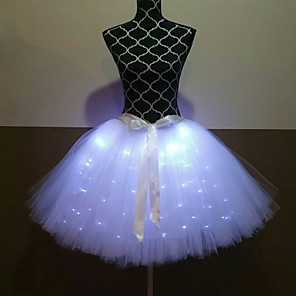 cheap Movie & TV Theme Costumes-Princess Ballet Dancer Skirt Girls' Movie Cosplay A-Line Slip LED Red / Green / White Skirt Halloween Carnival Masquerade Tulle Polyester