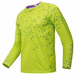 cheap Cycling Jerseys-21Grams Men's Long Sleeve Cycling Jersey Downhill Jersey Dirt Bike Jersey Green / Yellow Geometic Bike Jersey Top Mountain Bike MTB Road Bike Cycling UV Resistant Breathable Quick Dry Sports Clothing