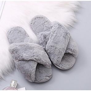 cheap Women's Sandals-Women's Slippers & Flip-Flops Fuzzy Slippers Summer Flat Heel Open Toe Daily Faux Fur Wine / Black / Light Red