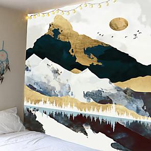 cheap Wall Tapestries-Sunset Mountain Indigo Tapestry Natuur Art Muur Stof Hippie Psychedelische Tapijt Muur Opknoping Boom Landschap Muur Tapijt Doek