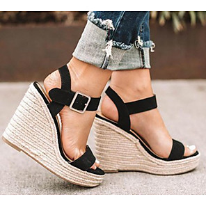 cheap Women's Sandals-Women's Sandals Wedge Sandals Wedge Heel Open Toe Daily Microfiber PU Summer Camel / Black / Silver