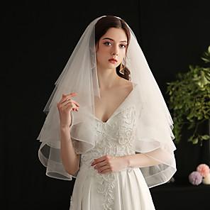 cheap Wedding Veils-Three-tier Sweet Wedding Veil Elbow Veils with Fringe Tulle