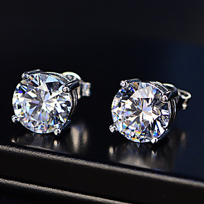 cheap Fine Jewelry-2 carat Synthetic Diamond Earrings Alloy For Women's Princess cut Ladies Stylish Simple Luxury Wedding Party Evening Formal High Quality Classic 1 Pair
