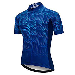 cheap Cycling Jerseys-21Grams Men's Short Sleeve Cycling Jersey Blue Bike Jersey Top Mountain Bike MTB Road Bike Cycling UV Resistant Breathable Quick Dry Sports Clothing Apparel / Stretchy