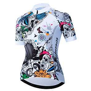cheap Cycling Jerseys-21Grams Women's Short Sleeve Cycling Jersey Spandex Polyester Black / White Butterfly Floral Botanical Bike Jersey Top Mountain Bike MTB Road Bike Cycling UV Resistant Breathable Quick Dry Sports