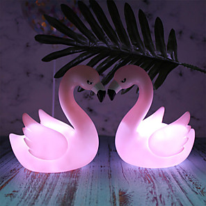 cheap Wall Stickers-Flamingo Night Light Cartoon Cute Bedside Decorative Lamp Pink