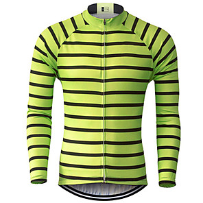 cheap Cycling Jerseys-21Grams Men's Long Sleeve Cycling Jersey Green / Black Stripes Bike Jersey Top Mountain Bike MTB Road Bike Cycling UV Resistant Breathable Quick Dry Sports Clothing Apparel / Stretchy / Race Fit