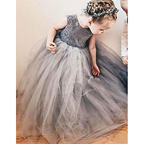 cheap Top Sellers-A-Line Sweep / Brush Train Wedding Flower Girl Dresses - Satin / Taffeta / Tulle Sleeveless Jewel Neck with Bow(s) / Tier / Solid
