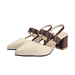 cheap Women's Sandals-Women's Sandals Chunky Heel Pointed Toe PU Minimalism Summer Brown / Beige