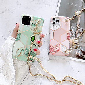 cheap iPhone Cases-iPhone 11Pro Max Matcha Green Stitching Marble Phone Case XS Max Can Be Slung Back Long Lanyard Metal Chain 6/7 / 8Plus Protective Case