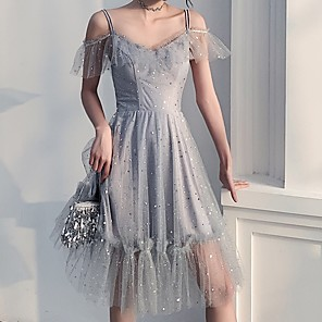 cheap Latin Dancewear-Back To School A-Line Sparkle Grey Homecoming Cocktail Party Dress Spaghetti Strap Short Sleeve Knee Length Polyester with Sequin 2020 Hoco Dress