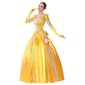 cheap Movie & TV Theme Costumes-Princess Belle Dress Flower Girl Dress Women's Movie Cosplay A-Line Slip Cosplay Yellow Dress Gloves Headwear Halloween Carnival Masquerade Tulle Polyester