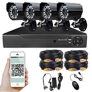cheap NVR Kits-HD 4 Road Waterproof Camera Monitor Set Wholesale Night Vision CCTV AHD DVR 1080P (1920*1080) 4 pcs 2.0MP