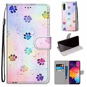 cheap Samsung Case-Case For Samsung Galaxy S20 / S20 Plus / S20 Ultra Wallet / Card Holder / with Stand Full Body Cases Footprint PU Leather / TPU for A51 / A71 / A81 / A91 / A01 / A21 / A50(2019) / A30s(2019)
