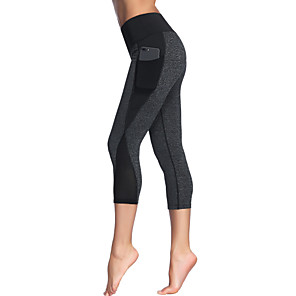 cheap Yoga Clothing-Women's High Waist Yoga Pants Side Pockets Patchwork Capri Leggings Butt Lift 4 Way Stretch Breathable Black Gray Mesh Gym Workout Running Fitness Sports Activewear High Elasticity Slim / Quick Dry