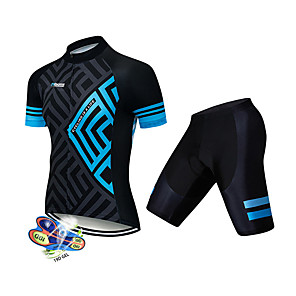 cheap Cycling Jersey & Shorts / Pants Sets-21Grams Men's Short Sleeve Cycling Jersey with Shorts Spandex Polyester Black / Blue Geometic Bike Clothing Suit UV Resistant Breathable 3D Pad Quick Dry Sweat-wicking Sports Solid Color Mountain