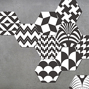 cheap Wall Stickers-10pcs AMJ Black and white abstract art grain floor paste bathroom bathroom waterproof wear-resistant non-slip paste living room kitchen self-adhesive wall paste 23*20*1cm