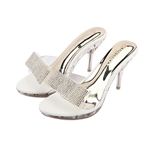 cheap Women's Sandals-Women's Heels Summer Stiletto Heel Open Toe Sexy Daily Rhinestone PU White / Black / Clear / Transparent / PVC