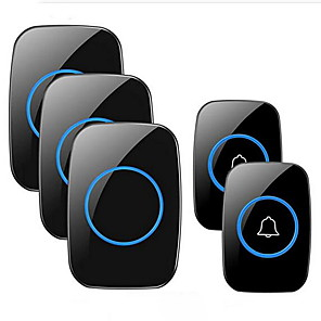 cheap Home Security System-Wireless Doorbell FullHouse Waterproof Door Bell Kit Distinguish Front and Rear Doors Over 1000 feet Range and 60 Chime 5 Levels Volume and LED Flash for Home Office Classroom