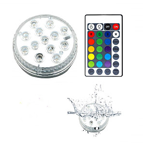 cheap Outdoor Wall Lights-13 LED Submersible Lights Remote Controlled RGB Changing Underwater Waterproof Lights for Pond Pool Fountain Aquarium Vase Hot Tub Bathtub Party 1Pack
