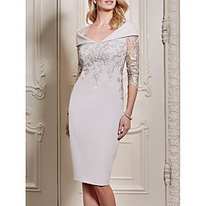 cheap Wedding Shoes-Sheath / Column Mother of the Bride Dress Elegant Plus Size See Through Queen Anne Knee Length Polyester Half Sleeve with Sequin 2020