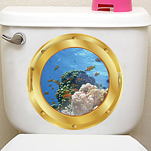 cheap Wall Stickers-Animals / 3D Wall Stickers 3D Wall Stickers / Animal Wall Stickers Decorative Wall Stickers, PVC Home Decoration Wall Decal Wall / Toilet Decoration 1pc