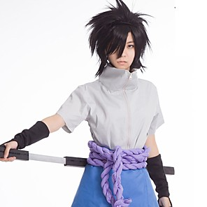 cheap Anime Costumes-Inspired by Naruto Uchiha Sasuke Anime Cosplay Costumes Japanese Outfits Top Pants Belt For Men's Women's / Rope / Wrist Brace