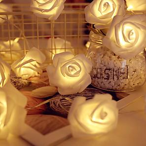 cheap Wedding Decorations-Battery Powered 1M Rose Flower String Lights Wedding Home Birthday Valentine's Day Event Party Garland Luminaria