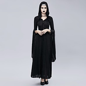 cheap Historical & Vintage Costumes-Plague Doctor Retro Vintage Gothic Steampunk Dress Masquerade Women's Costume Black Vintage Cosplay Event / Party Long Sleeve