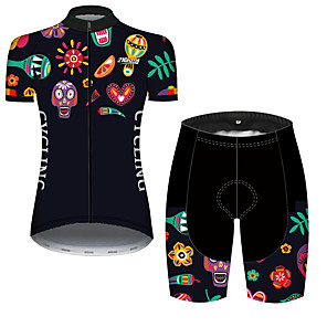 cheap Cycling Jersey & Shorts / Pants Sets-21Grams Women's Short Sleeve Cycling Jersey with Shorts Black / Yellow Skull Floral Botanical Bike Clothing Suit Breathable Quick Dry Ultraviolet Resistant Sweat-wicking Sports Skull Mountain Bike