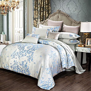 cheap High Quality Duvet Covers-Comforter Bedding Sets Tencel Silk Luxury Duvet Cover Bed Sheet Hot Sale Queen King Double Blue Jacquard Bed Linens Set