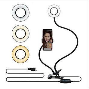 cheap Ring light-1pcs Selfie Ring Light TikTok Light Youtube Video with Cell Phone Holder Stand Double Hose Fill Light Bracket Lazy Bracket Lamp Reading USB Charge