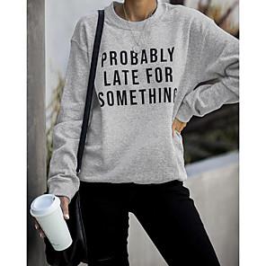 cheap Women's Heels-Women's Sweatshirt Letter Casual Going out Slim Wine Black Light gray S M L XL XXL XXXL XXXXL XXXXXL
