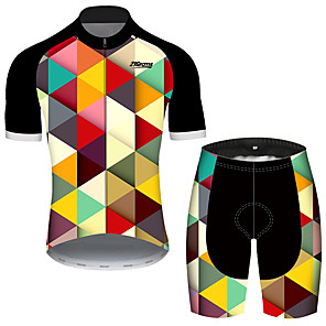 cheap Cycling Jersey & Shorts / Pants Sets-21Grams Men's Short Sleeve Cycling Jersey with Shorts Black / Yellow Plaid / Checkered Geometic Bike Clothing Suit UV Resistant Breathable Quick Dry Sweat-wicking Sports Plaid / Checkered Mountain