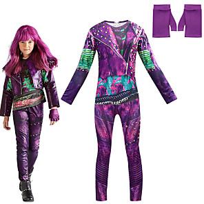 cheap Movie & TV Theme Costumes-Descendants Cosplay Cosplay Costume Outfits Girls' Movie Cosplay Cosplay Halloween Purple Leotard / Onesie Gloves Carnival Masquerade Polyester