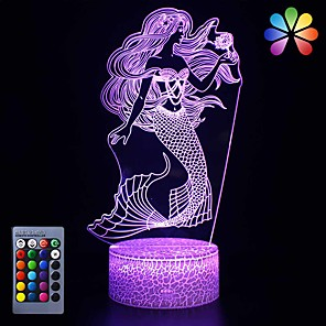 cheap 3D Night Lights-Little Mermaid Girls Birthday Xmas Gift 16 Colors Changing Remote Control LED Nightlight 3D Illusion Night Lamp Kids Room Decor Toy Bedside Desk Lighting