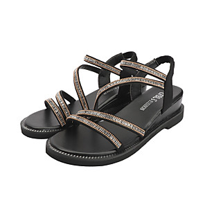 cheap Women's Sandals-Women's Sandals Wedge Sandals Summer Wedge Heel Open Toe Casual Daily Rhinestone Suede Gold / Silver