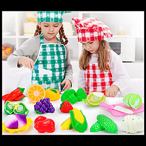 cheap Electronic Learning Toys-Toy Kitchen Set Pretend Play Play Kitchen Fruits & Vegetables Creative Novelty Plastic Kid's Boys' Girls' Toy Gift 4-23 pcs