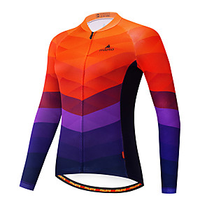 cheap Cycling Jerseys-Miloto Women's Long Sleeve Cycling Jersey Blue+Orange Bike Jersey Top Mountain Bike MTB Road Bike Cycling Breathable Quick Dry Sports Clothing Apparel / Stretchy