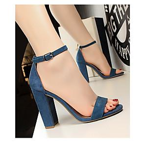 cheap Women's Sandals-Women's Sandals Summer Chunky Heel Open Toe Daily PU Wine / Nude / White