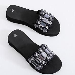 cheap Women's Sandals-Women's Slippers & Flip-Flops 2020 Summer Flat Heel Open Toe Casual Sweet Daily Beach Imitation Pearl / Sparkling Glitter Solid Colored EVA(ethylene-vinyl acetate copolymer) Walking Shoes Black / Red