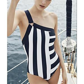 cheap Athletic Swimwear-Women's One Piece Swimsuit Padded Swimwear Bodysuit Swimwear Black / White Black Breathable Quick Dry Comfortable Sleeveless - Swimming Surfing Water Sports Summer / Stretchy