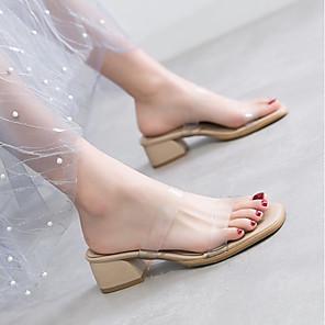 cheap Women's Sandals-Women's Sandals Summer Block Heel Square Toe Daily PVC Beige / Clear / Transparent / PVC
