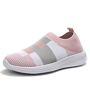 cheap Women's Heels-Women's Loafers & Slip-Ons Spring & Summer Flat Heel Round Toe Basic Minimalism Daily Plaid / Check Knit / Elastic Fabric Running Shoes Wine / Pink / Blue