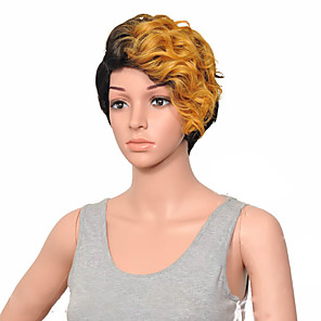 cheap Costume Wigs-Synthetic Wig Curly Hathaway Halloween Christmas Side Part Wig Short Brown Blonde Pink Gold Pink Black / Blonde Synthetic Hair 12 inch Women's Women Synthetic Sexy Lady Mixed Color hairjoy