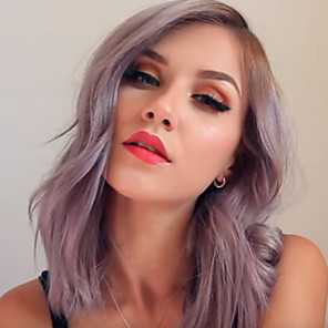 cheap Synthetic Trendy Wigs-Synthetic Wig kinky Straight Asymmetrical Wig Long Silver grey Synthetic Hair 18 inch Women's Women Easy dressing Highlighted / Balayage Hair Silver